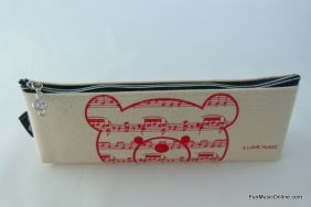PartyErasers FunMusic Beige Colour Music Bear Pencil Zipper Pouch Pencil Case