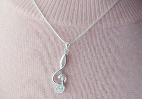Music Themed Treble Clef Pendant with Crystal Necklace