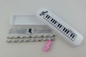 PartyErasers FunMusic Stationery Set - White Plastic Pencil Case with HB Pencils, Pink Eraser and Ruler
