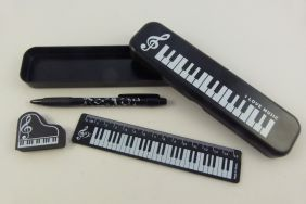PartyErasers FunMusic Stationery Set - Black Plastic Pencil Case with Mechanical Pencil, Eraser and Ruler