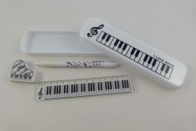 PartyErasers FunMusic Stationery Set - White Plastic Pencil Case with Mechanical Pencil, Eraser and Ruler