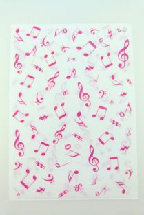 PartyErasers FunMusic Pink Music Notes Design A4 Plastic Folder