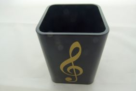 Black with Gold Treble Clef Design Pencil Pen Stationery Square Large Holder Cup