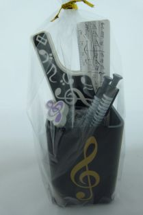 Music Themed Stationery - Silver Treble Clef Square Pen Holder Set