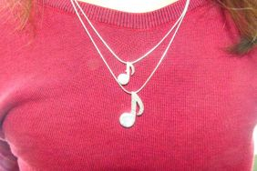 Music Themed Musical Eighth Notes Pendants Silver Necklace