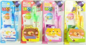 Party Bag Pack of 4 Kawaii Stationery Set - Colour Memo Invisible Ink Pen with Purple Light Checker Set