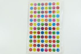 10 sheets of Small Colourful Smiley Face Glittered Stickers (960 stickers)