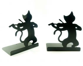Music Themed Black Cat playing Violin Bookends Book Stand (2 pieces)