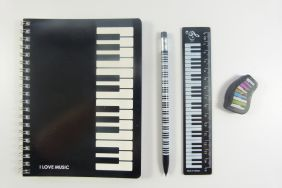 PartyErasers FunMusic Notebook, Black Ruler and Rubber Music Themed Stationery Set