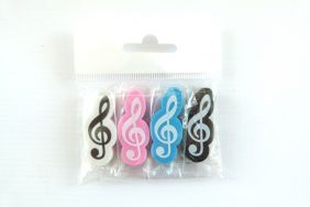 Music Themed Treble Clef Erasers 4 pieces