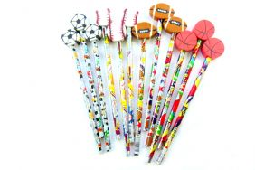 Pack of 12 pcs HB Pencils - Sport Pizazz Themed with detachable Eraser top from USA