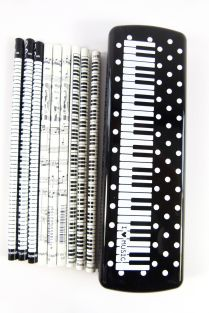Pack of 15 Music Themed Pencils (3 design) in White Spots Piano Keys Black PVC Plastic Pencil Case Set
