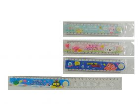 Party Bag Pack of 4 Cute Cartoon Transparent Foldable 30cm Ruler with Drawing Shapes (4 Rulers)