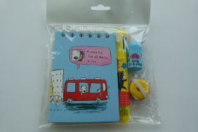 Party Bag Stationery Set -White Dog Blue Notebook with 7+1 colours pens & pencil, correction liquid and Iwako Eraser