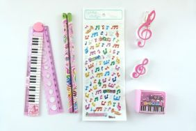 Music Themed Party Bag 7 pieces Music Stationery - Pink Set