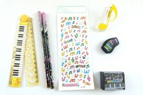 Music Themed Party Bag 7 pieces Music Stationery - Yellow Set