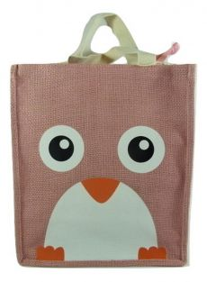 PartyErasers Pink Owl Small Jute Tote Bag