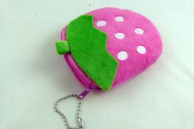 Kawaii Pink Strawberry Fruit Zipper Pouches Coin Purse