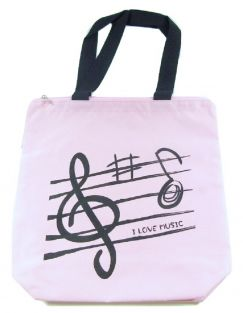 PartyErasers Pink Treble Clef Music Design Zipped Tote Bag