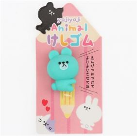 Q-Lia Yojiyoji Animal Pencil Top Eraser from Japan - Turquoise Bear