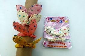 Rabbit Bunny Ear White Flowery Chiffon Ponytail Hair band or hand band for young girl