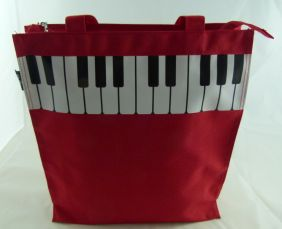 Music Themed Red Piano Key Design Zipper Hand Handle Tote Bag