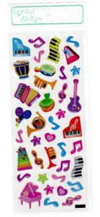 Crystal Stickers - Music themed Colourful Musical Instruments
