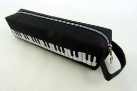 Music Themed Black Keyboard Design Tube Shape Zipper Pencil Case with Hand Handle