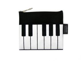 Music Themed Mini Coin Pouch Zipper Bag - Black White Keyboard Design