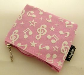Music Themed Mini Coin Pouch Zipper Bag - Pink Musical Note Design