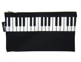 Music Themed High Quality Keyboard Design Black Pencil Zipper Pouch