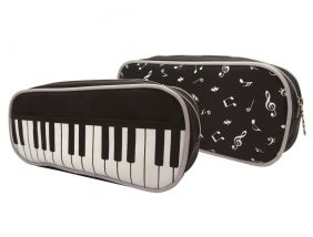 Music Themed Large Black Keyboard front and Musical Notes back Design Zipper Pouch Pencil Case