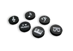 Music Themed 6 pieces 2.5cm dia Music Notes White Board Fridge Magnets