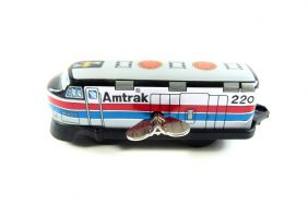 Wind up Amtrak 220 Small Tin Toy Train from Japan