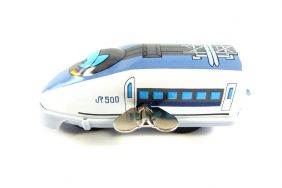 Wind up Blue Bullet Train Small Tin Toy Train from Japan