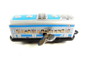 Wind up Blue Tram Small Tin Toy Train from Japan