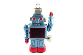 Wind up Small Blue Walking Tin Toy Sparkling Robo from Japan