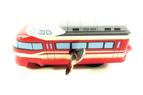 Wind up Double Decker Train Small Tin Toy Train from Japan