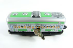 Wind up Green Tram Small Tin Toy Train from Japan