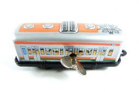 Wind up Orange Tram Small Tin Toy Train from Japan