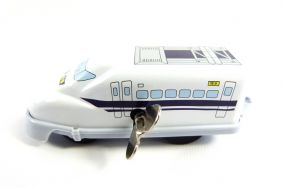 Wind up White Bullet Train Small Tin Toy Train from Japan