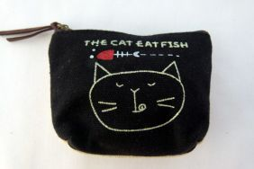 Zakka Style Small Canvas Zip Pouch/Coin Purse - Black Cat