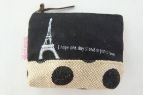 Zakka Style Small Canvas Zip Pouch/Coin Purse -  Black Eiffel Tower