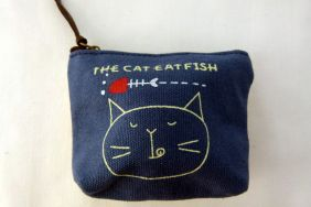 Zakka Style Small Canvas Zip Pouch/Coin Purse - Navy Blue Cat