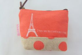 Zakka Style Small Canvas Zip Pouch/Coin Purse - Orange Eiffel Tower