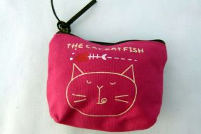 Zakka Style Small Canvas Zip Pouch/Coin Purse - Pink Cat