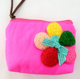 Zakka Style Small Nylon Zip Pouch/Coin Purse - Bright Pink Flower