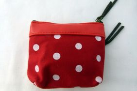 Zakka Style Small PU & Canvas Zip Pouch/Coin Purse - Red Sailor