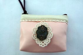 Zakka Style Small PU Zip Pouch/Coin Purse - Light Pink with Lace