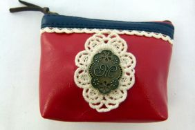 Zakka Style Small PU Zip Pouch/Coin Purse - Red with Lace